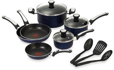 T-Fal Total Non-stick 12-Piece Cookware Set - Blue