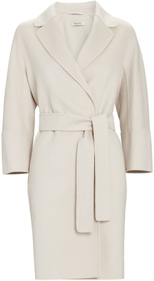 S Max Mara Arona Belted Wool Wrap Coat