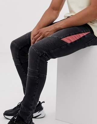 Design DESIGN super skinny biker jeans in washed black with red panel
