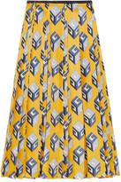 Gucci Pleated Printed Silk-twill Midi Skirt - Yellow