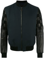 Lanvin mix material bomber jacket - men - Silk/Cotton/Calf Leather/Watersnake Skin - 48