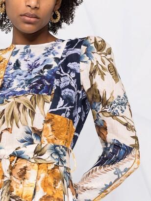 Zimmermann Patchwork Floral Linen Midi Dress