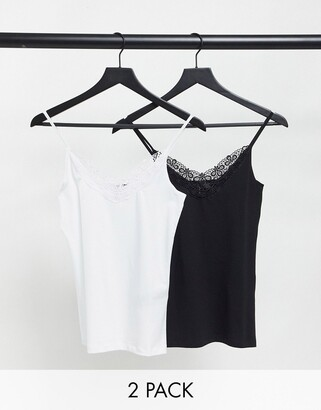 Vero Moda 2-pack cami top with lace detail in black and white