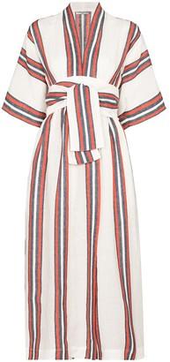 Three Graces Stripe-Print Linen Midi Dress