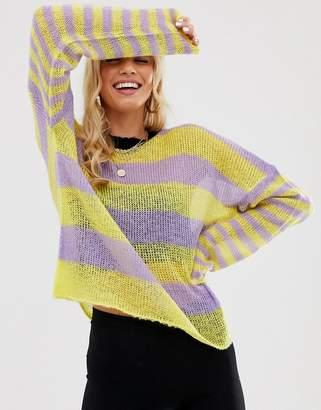 The Ragged Priest fine knit sweater in mixed stripe-Purple