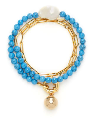 Timeless Pearly Gold-Plated, Agate And Pearl Bracelet