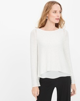 White House Black Market Petite Woven High-Low Hem Sequin Pullover Sweater