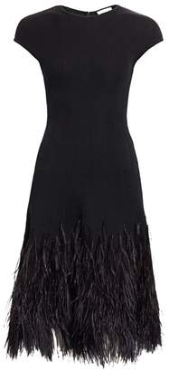 Oscar de la Renta Short-Sleeve Feather Hem A-Line Dress