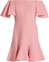 Valentino Off-the-shoulder crepe mini dress