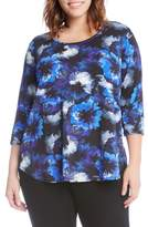 Karen Kane Plus Size Women's Midnight Flower Tee