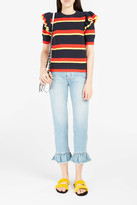 MSGM Ruffle-Hem Cropped Jeans