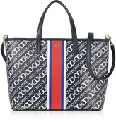 Tory Burch Gemini Link Navy Coated Canvas Small Tote Bag