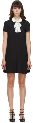 RED Valentino Black Crepe Satin Necktie Dress