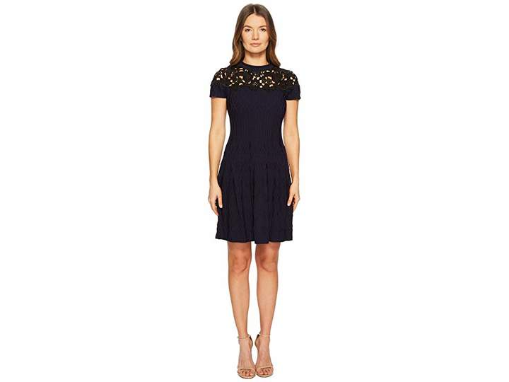 The Kooples Woven Dress with Black Lace Details on The Top Women's Dress