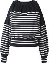 Sacai striped cold shoulder top