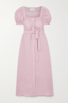 Sleeper Brigitte Belted Linen Midi Dress - Pink