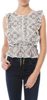 Moon River Ruffle Printed Top with Lace Trim