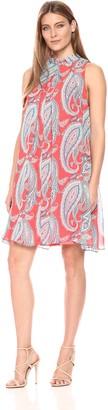Robbie Bee Women's Paisly Printed Chiffon Mock Neck Trapeze Sleeveless Dress