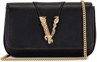 Versace V Rectangle Bag in Black & Gold | FWRD