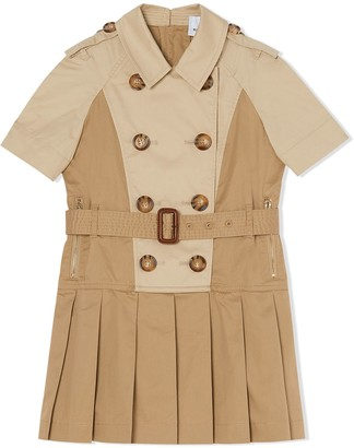 BURBERRY KIDS Double-Breasted Belted Trench Dress