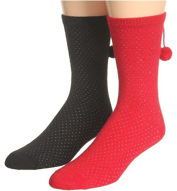 Kate Spade Birdseye Pom Trouser Socks (2 Pack) (Black/Lacquer Red) - Footwear