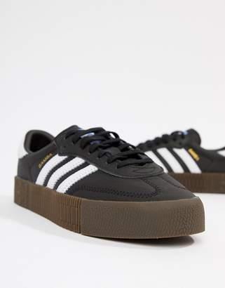 adidas Samba Rose Sneakers In Black With Dark Gum Sole