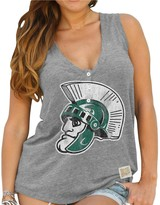 Original Retro Brand Unbranded Women's Gray Michigan State Spartans Relaxed Henley V-Neck Tri-Blend Tank Top