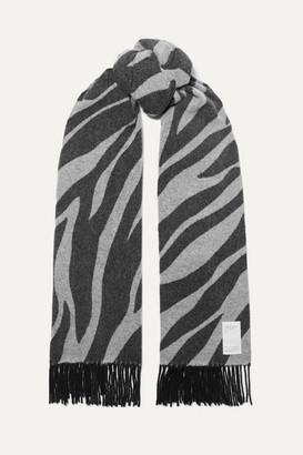 Rag & Bone Fringed Zebra-print Wool-blend Scarf - Zebra print