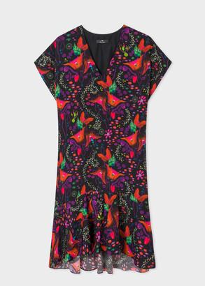Paul Smith Women's Black 'Earthling Floral' Print Ruffle Dress