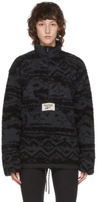 Reebok Classics Reversible Black and Grey Fleece Half-Zip Sweater