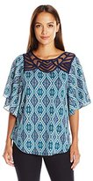 NY Collection Women's Petite Printed Knit Top with Woven Printed Elbow Flutter Sleeves with Neck Trim