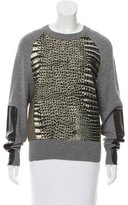 Reed Krakoff Leather-Trimmed Printed Sweater