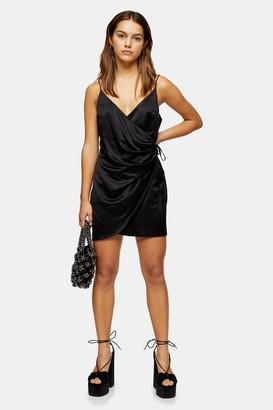 Topshop Womens Petite Black Satin Wrap Mini Dress - Black