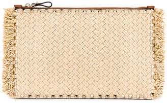Valentino Large Rockstud Flat Pouch in Natural & Selleria | FWRD
