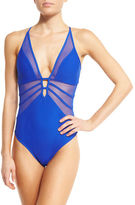 Jets Aspire Mesh-Insert Plunging One-Piece Swimsuit