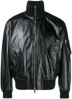 Valentino funnel neck bomber jacket - men - Cotton/Calf Leather/Acrylic/Wool - 48