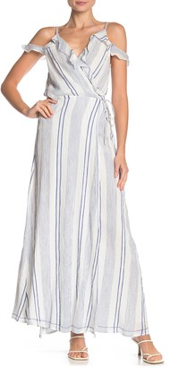 On The Road Aneesa Cold Shoulder Stripe Dress