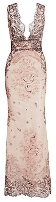 Gustavo Cadile Sleeveless Embroidered Lace Gown