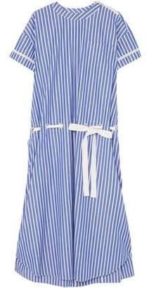 Sacai Lace-trimmed Striped Cotton-poplin Dress