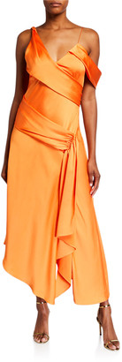 Jonathan Simkhai Fluid Satin Asymmetric Draped Gown