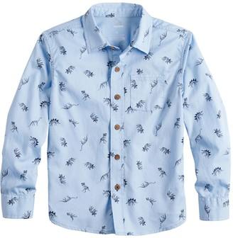 Sonoma Goods For Life Boys 4-12 Dinosaur Print Button Down Shirt
