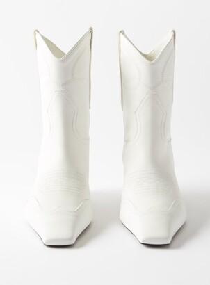KHAITE Dallas Kitten-heel Leather Western Boots - White