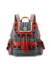 Tory Burch Scout Pompom Woven Backpack, Tory Navy