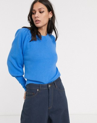 Selected sweater with volume sleeve in blue