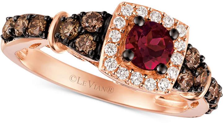 LeVian Le Vian Chocolatier Raspberry Rhodolite Garnet (3/8 ct. t.w.) and Diamond (5/8 ct. t.w.) Ring in 14k Rose Gold