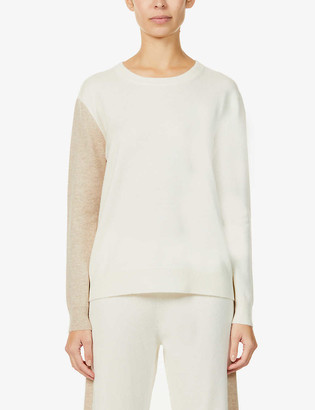 Chinti and Parker Contrast-panel fine-knit cashmere jumper