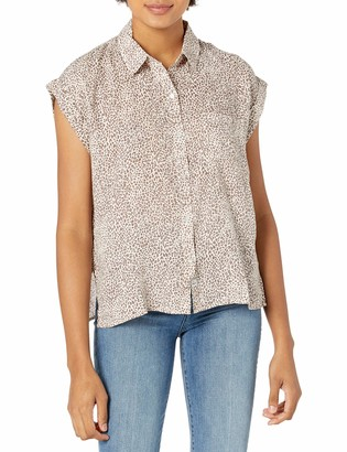 Rails Womens Whitney Sand Cheetah S/S Button Down TOP_Woven Small