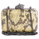 House Of Harlow Python Print Leather Clutch Bag