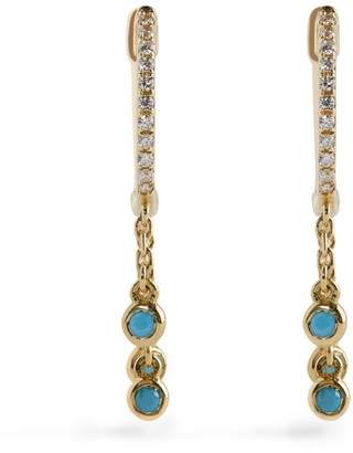 Djula Yellow Gold, Diamond and Turquoise Hoop Earrings