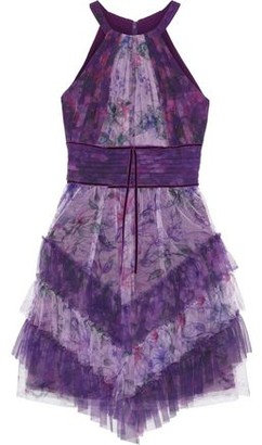 Marchesa Tiered Velvet-trimmed Floral-print Tulle Mini Dress
